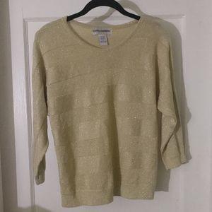 Cathy Daniels Golden Sparkle Sweater SZ S